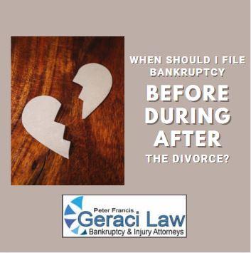 Should I file Bankruptcy Before I get Divorced, During the Divorce or After theDivorce?